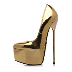 Slick Escala gold pumps with gold stiletto