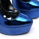 Slick Escala extremely high pumps with silver stiletto in metalic blue