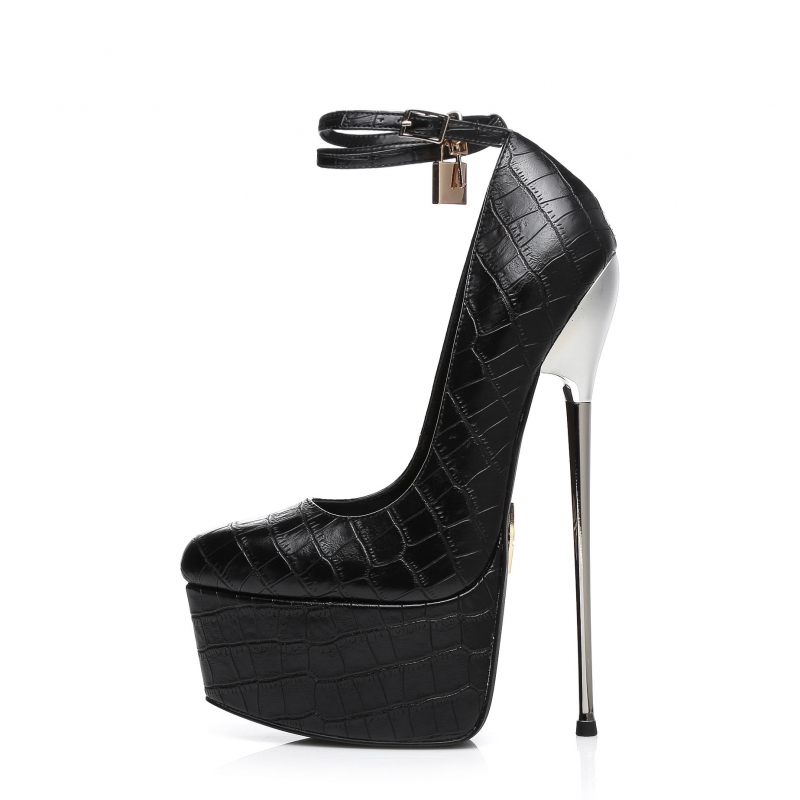 Slick ESSENCE extremely high pumps in crocodile pattern with ankle straps and metal stiletto