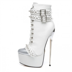 Slick EVIL white high heel booties in a rock style
