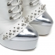 Slick white EVIL rock style boots with extremely high stiletto