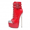 Slick EVIL red shiny high heel booties in a rock style