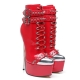 Slick red shiny EVIL rock style boots with extremely high stiletto