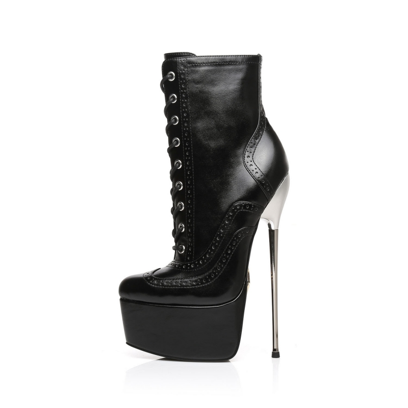 Slick EDITOR black lace-up booties with metal stiletto