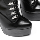 Slick ENZO black lace-up booties with silver high heel