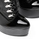 Slick ENZO blackshiny lace-up booties with silver high heel