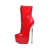 Slick ENZO shiny red lace-up ankle boots with a metal high heel