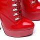 Slick ENZO red shiny lace-up booties with silver high heel