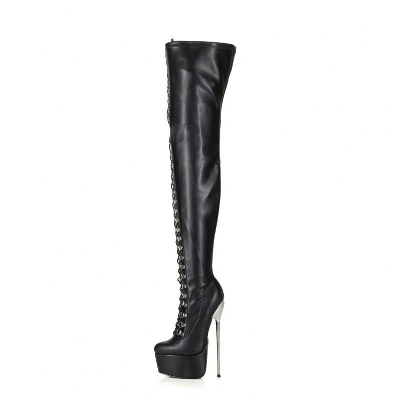 Slick ENZO black lace-up thigh high boots with silver high heel