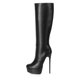 Giaro GALANA black leather look fabulous platform boots, stiletto heels