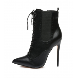 Giaro ADINA black high heel booties with lacing