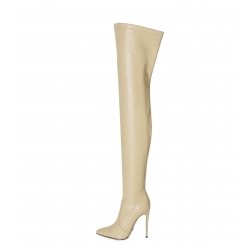 Giaro ARABELLA Slim Pointy Stiletto thigh high Boots Nude