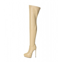 Giaro SPIRE nude platform thigh high boots with stilettos