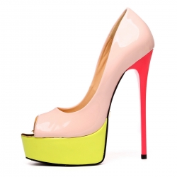 GALANA peep toe nude yellow fuchsia pumps