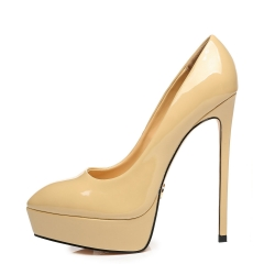 Giaro SCANT nude shiny high heel platform pumps