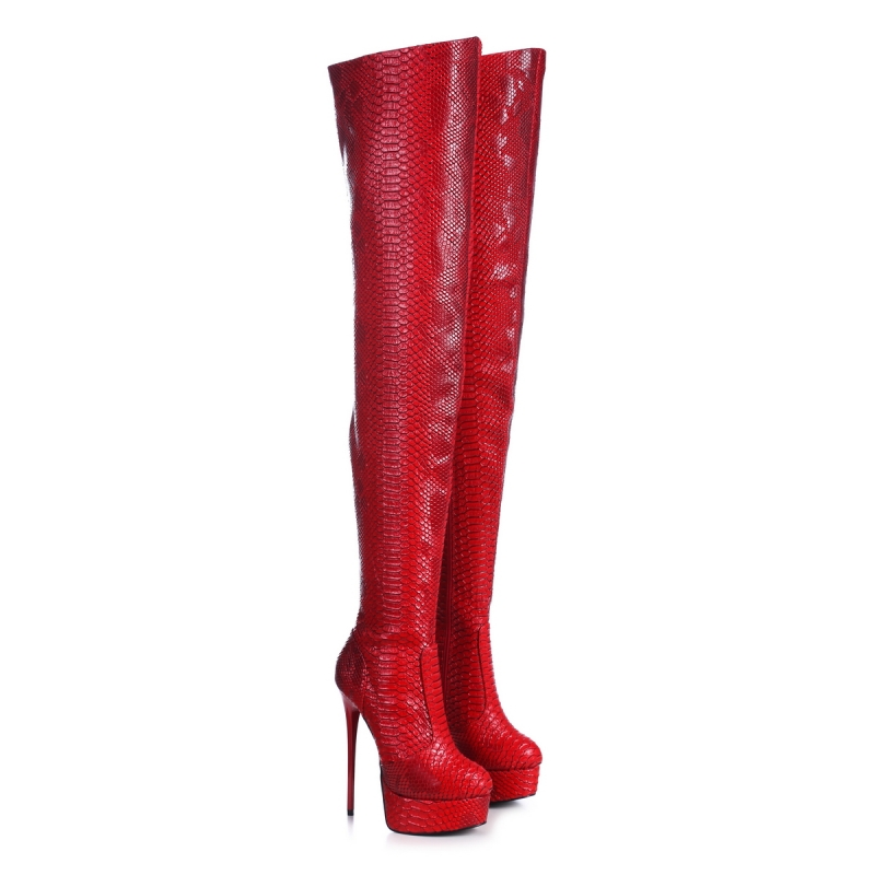 Giaro GALANA Red Snakeskin Over Knee Thigh High Boots