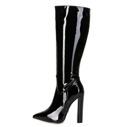 Giaro TAKEN black shiny chunky heeled boots