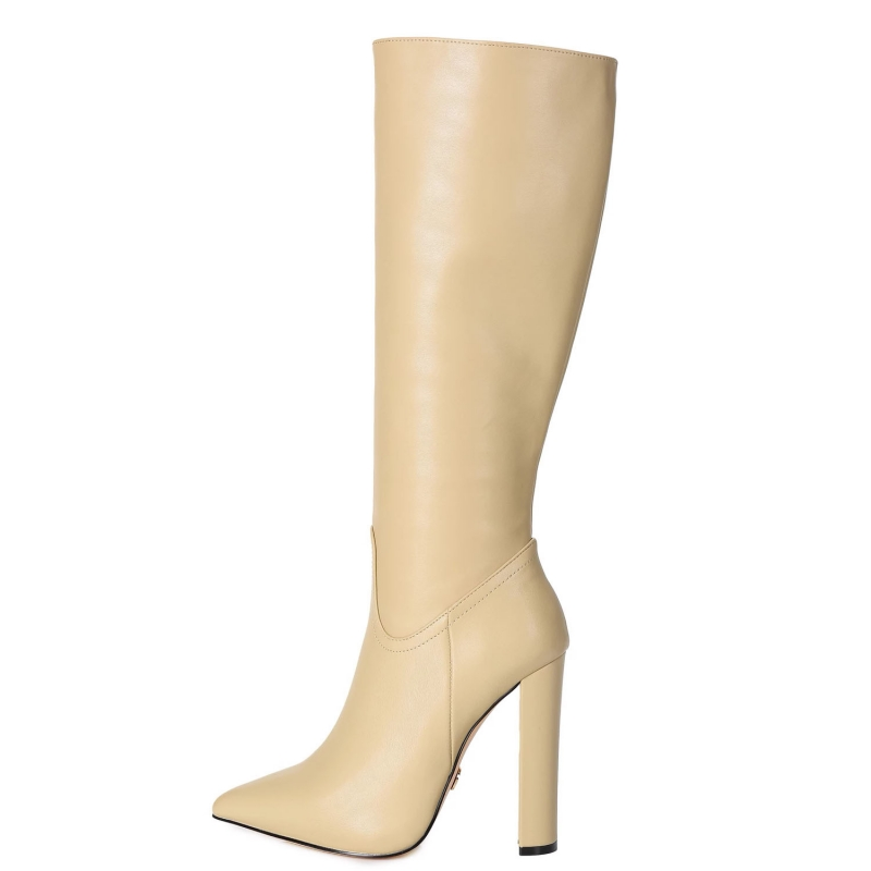Giaro TAKEN nude knee high chunky boots