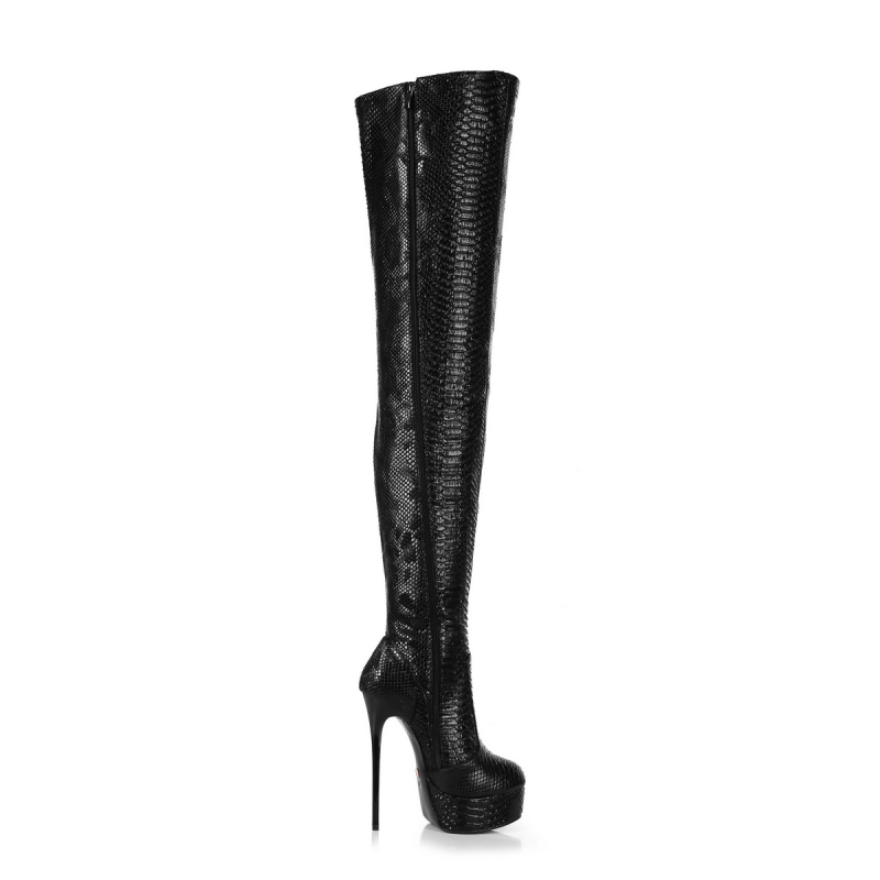 d43c3478cc67 Giaro GALANA Black Snakeskin Over Knee Thigh High Boots