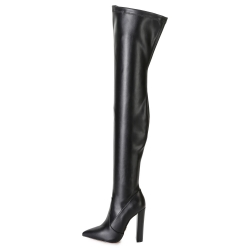 Giaro TRINKET black thigh high boots on block heel
