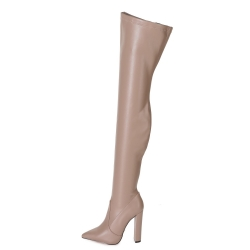 Giaro TRINKET taupe thigh high boots on chunky heel