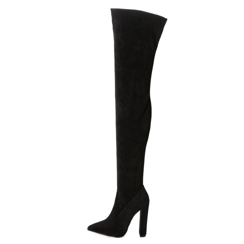 Giaro TRINKET velour over-the-knee boots with thick heels
