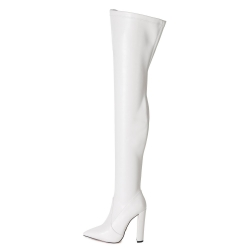 Giaro TRINKET white over-the-knee boots with block heels