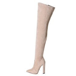 Giaro TRINKET stone velour over-the-knee boots on chunky heel