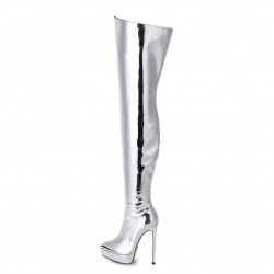 Giaro SPIRE  platform thigh high boots in liquid silver