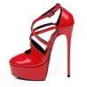 Giaro red shiny strappy high heels pumps