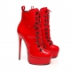 Giaro VISIONARY red shiny lace up ankle booties