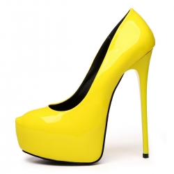 GALANA yellow shiny high heel pumps