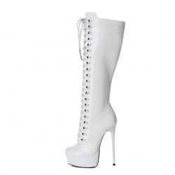 Giaro MAHAUTE white high heel boots with front lace-up