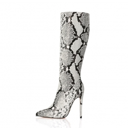 Giaro MILA grey classy high heel boots with snake pattern