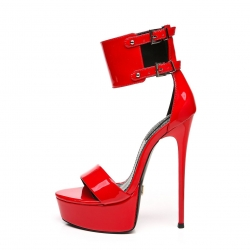 Giaro KATE red shiny  high heel sandals with wide strap