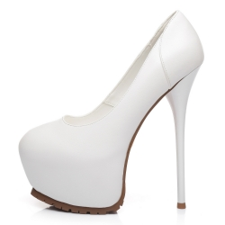 Giaro VICKY white high heel pumps witth solid tread