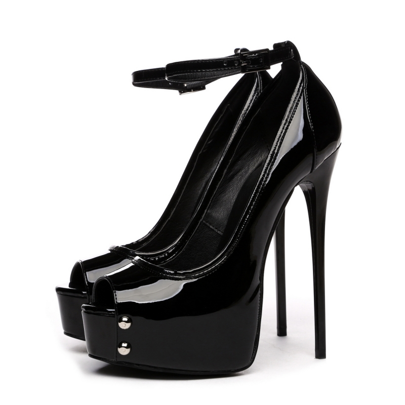 GALANA black shiny peep toe pumps - Hot Heels Shop