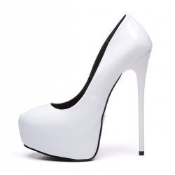 Giaro white shiny stiletto pumps
