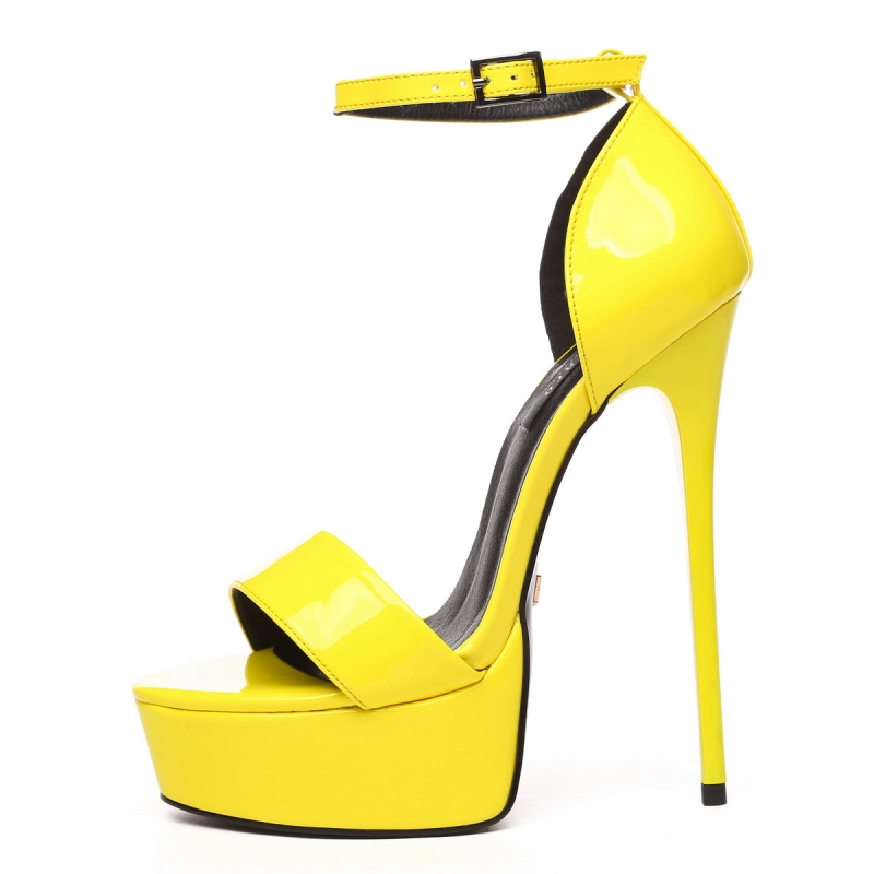 Giaro yellow shiny stiletto sandals