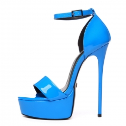 Giaro blue shiny high heel platform sandals