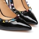 GLORY black shiny pumps with multicolor studs