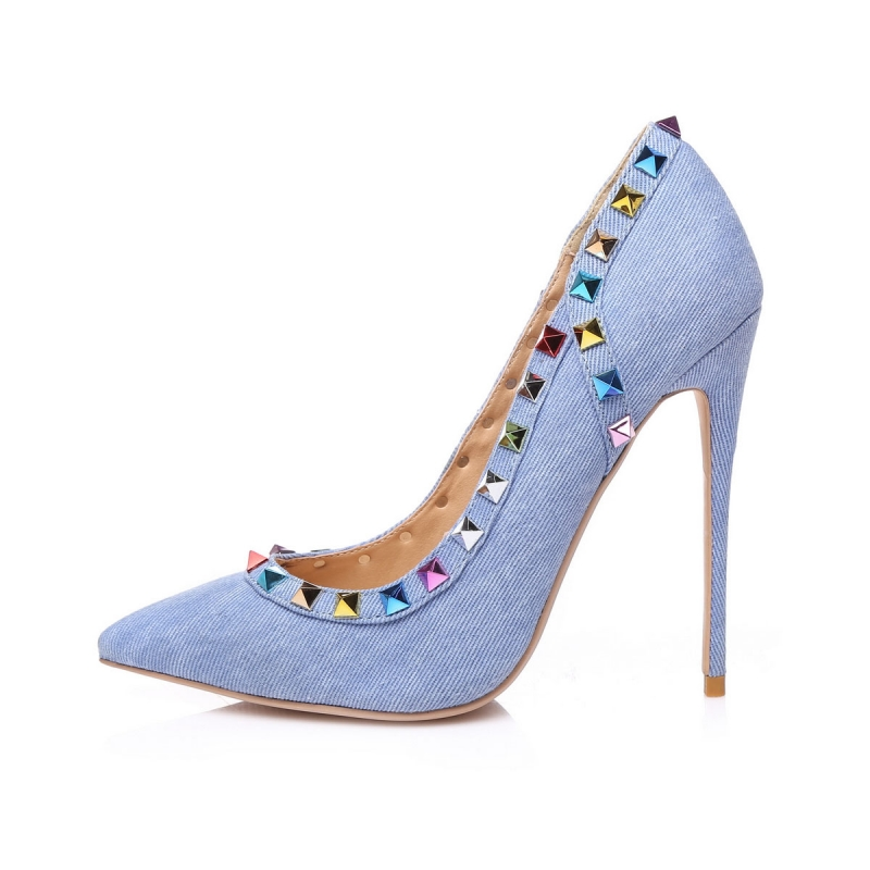 43a6af66a76 Giaro GLORY blue denim jeans with multicolor studs high heels pumps