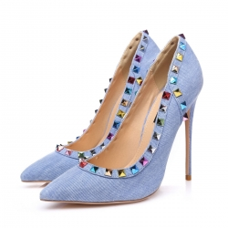 GLORY blue denim with multicolor studs high heel pumps