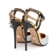 KENNY white and black sandals with gold studs and straps