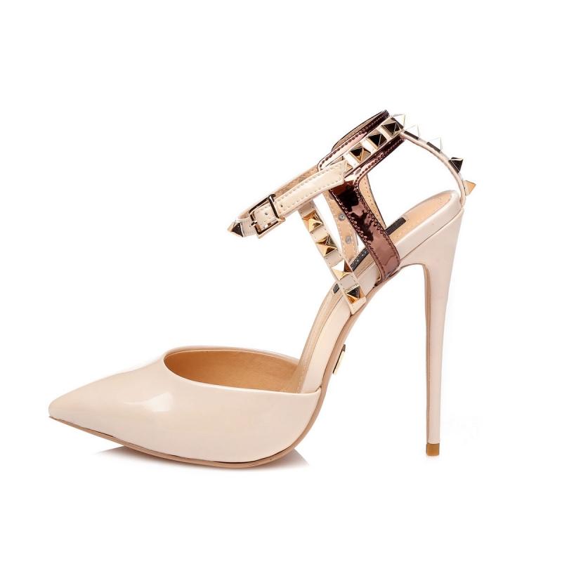 KENNY nude high heel sandals with gold studs and copper strip