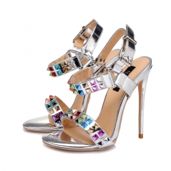 ESTIA liquid silver stiletto sandals with multicolor studs