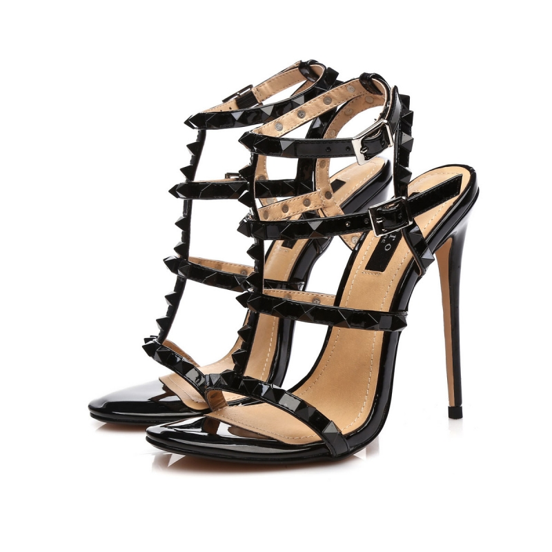 GANESHA black shiny high hell sandals with black studs