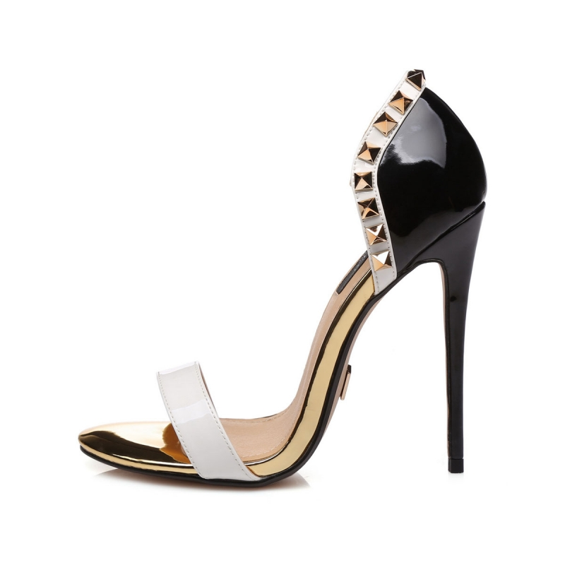 INDO black and white stiletto sandals with gold elements