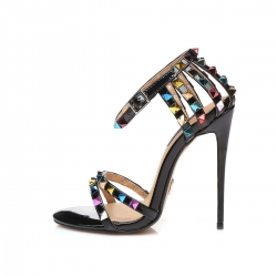 SANTA CLARA black shiny high heel sandals with colorful studs