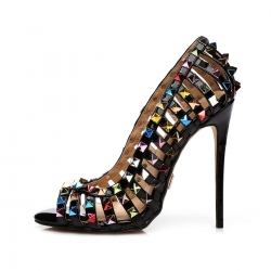 NILO black shiny sandals with colorful studs